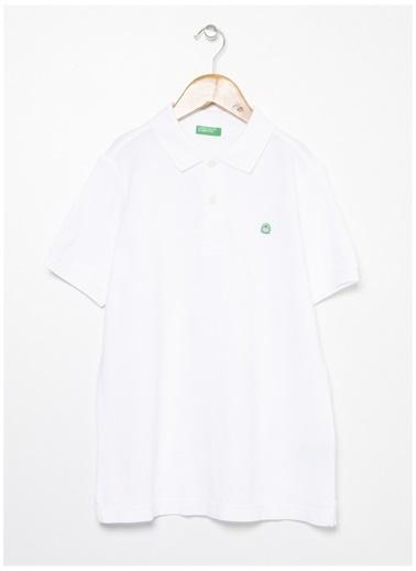 Benetton Benetton Logolu Beyaz Erkek Çocuk Polo T-Shirt Beyaz